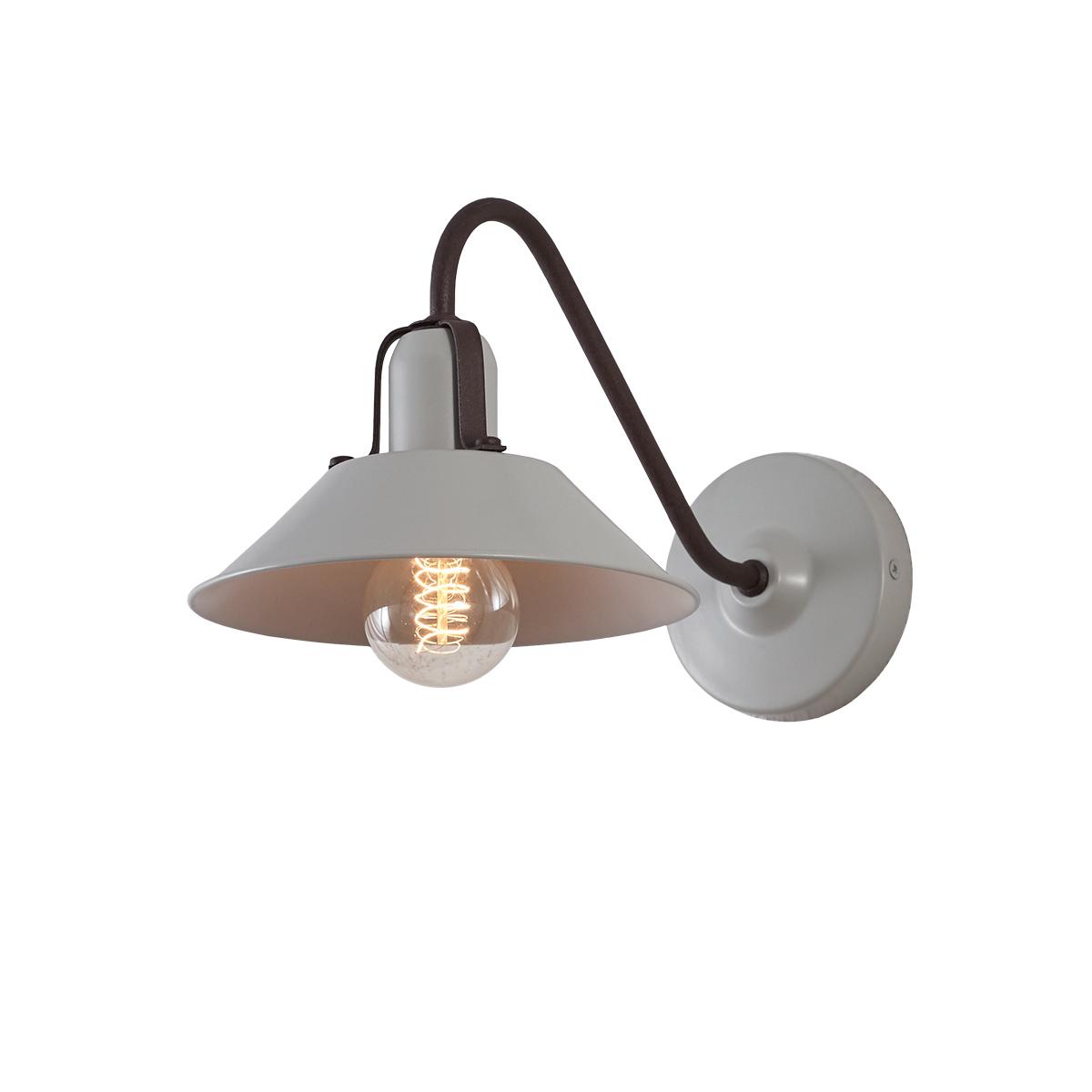 Ρετρό επιτοίχιο φωτιστικό ανοιχτό γκρί ΜΗΛΟΣ silk grey retro wall lamp