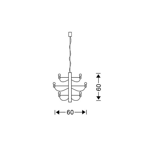 Modern 24-bulb chandelier | AKTINES - Drawing - Modern 24-bulb chandelier | AKTINES