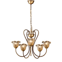 Κλασικό πολύφωτο με μελί κρύσταλλα Μουράνο ΝΑΞΟΣ-1 5-bulb chandelier with amber Murano crystals