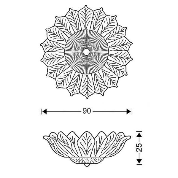 Κλασικό φωτιστικό με κρυστάλλινα φύλλα | STELLA - Σχέδιο - Κλασικό φωτιστικό με κρυστάλλινα φύλλα | STELLA