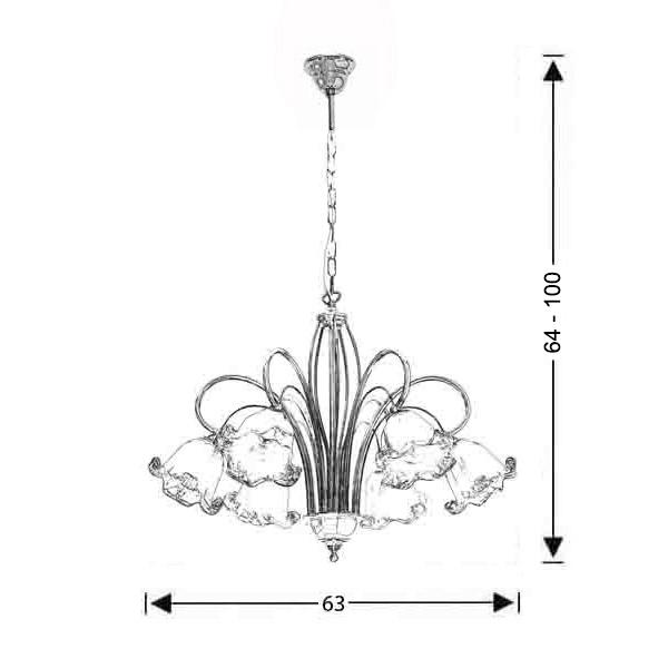 Κλασικό 6φωτο με κρύσταλλα Murano | ΝΥΜΦΑΙΟ - Σχέδιο - Κλασικό 6φωτο με κρύσταλλα Murano | ΝΥΜΦΑΙΟ