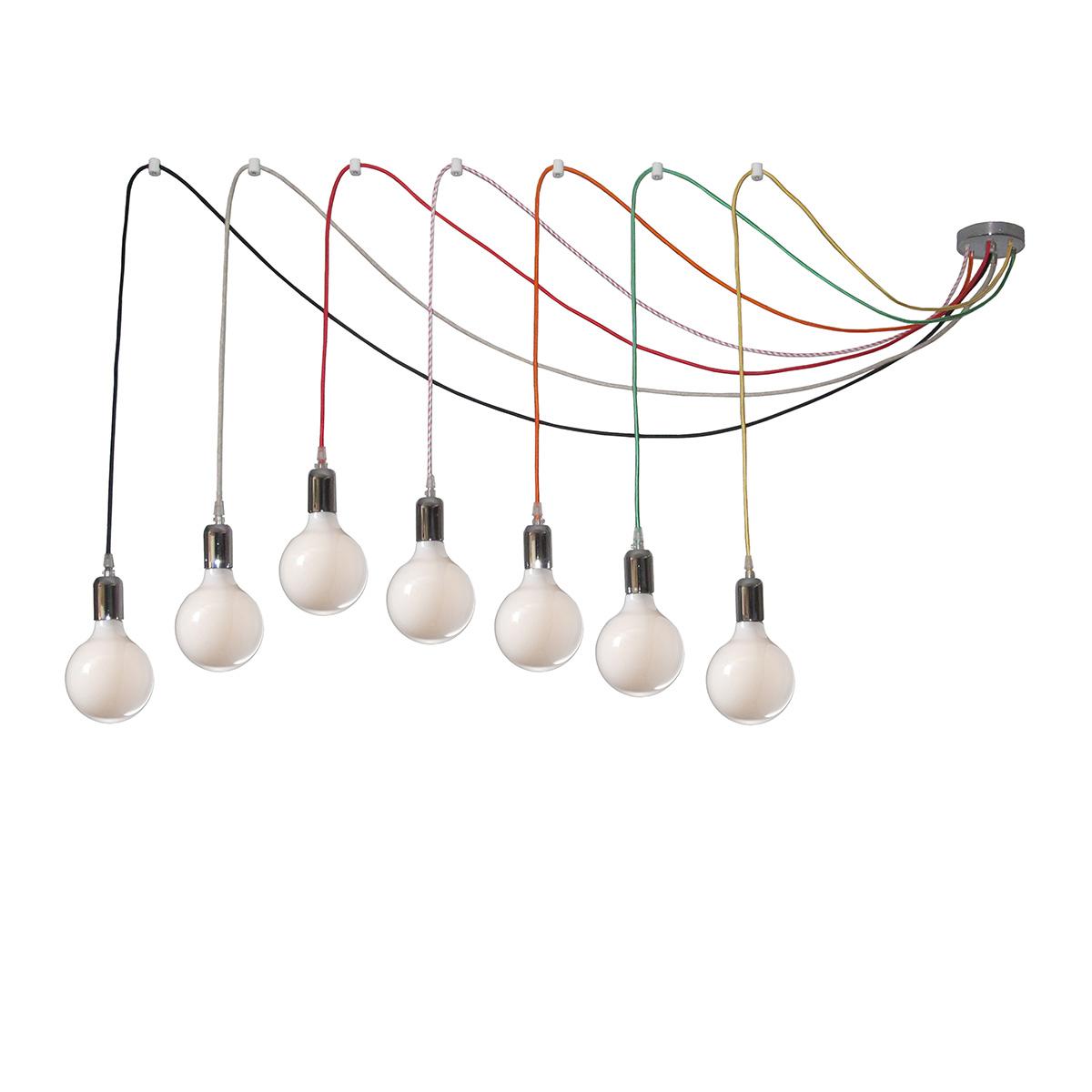 7φωτο φωτιστικό με χρωματιστά καλώδια ΚΑΛΩΔΙΑ 7-bulb chandelier with colorful cables