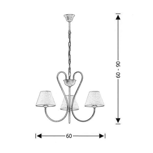 3-bulb white patinated rustic pendant lamp | NAXOS-2 - Drawing - 3-bulb white patinated rustic pendant lamp | NAXOS-2