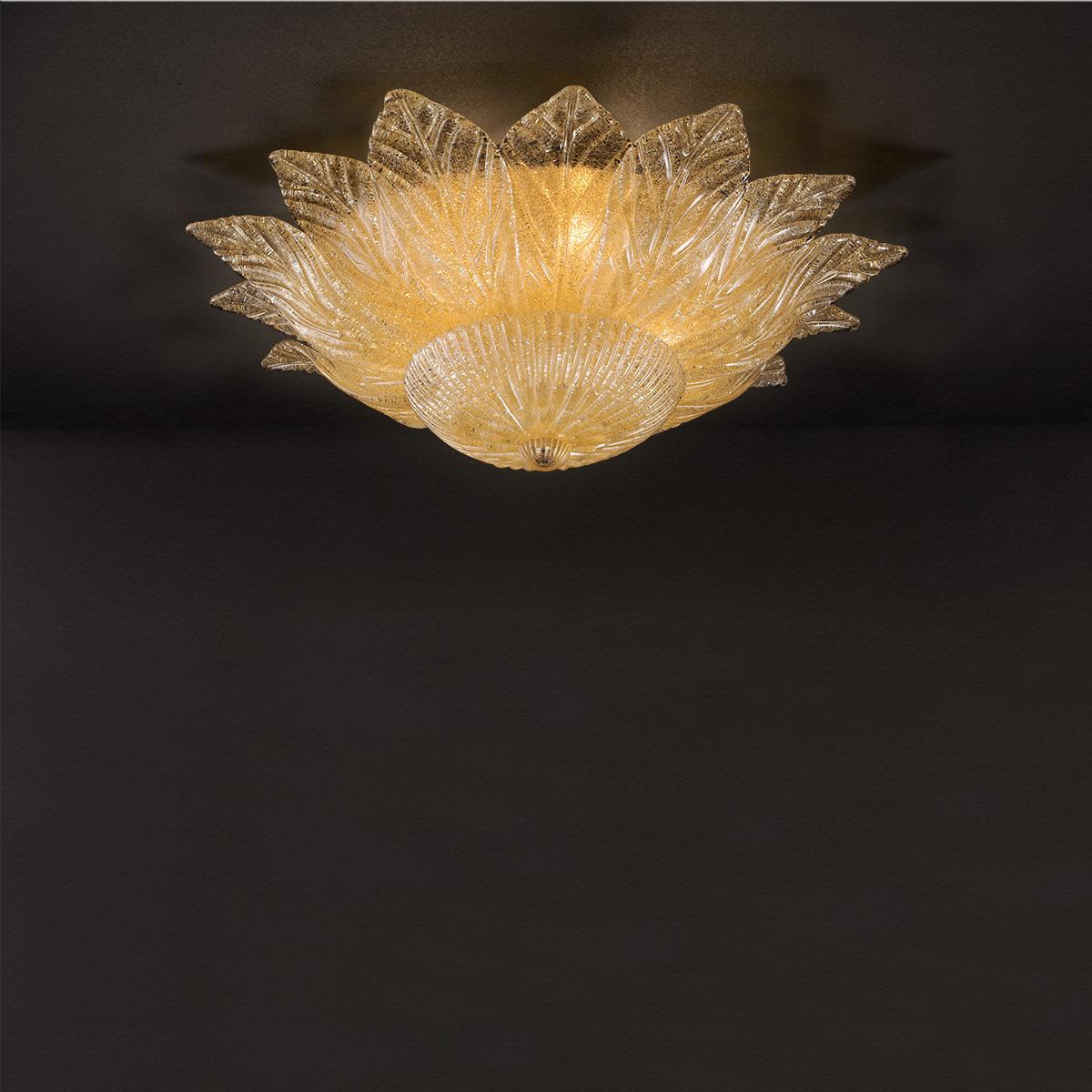 Κλασικό φωτιστικό οροφής με κρυστάλλινα φύλλα STELLA classic ceiling lamp with Murano crystal leaves