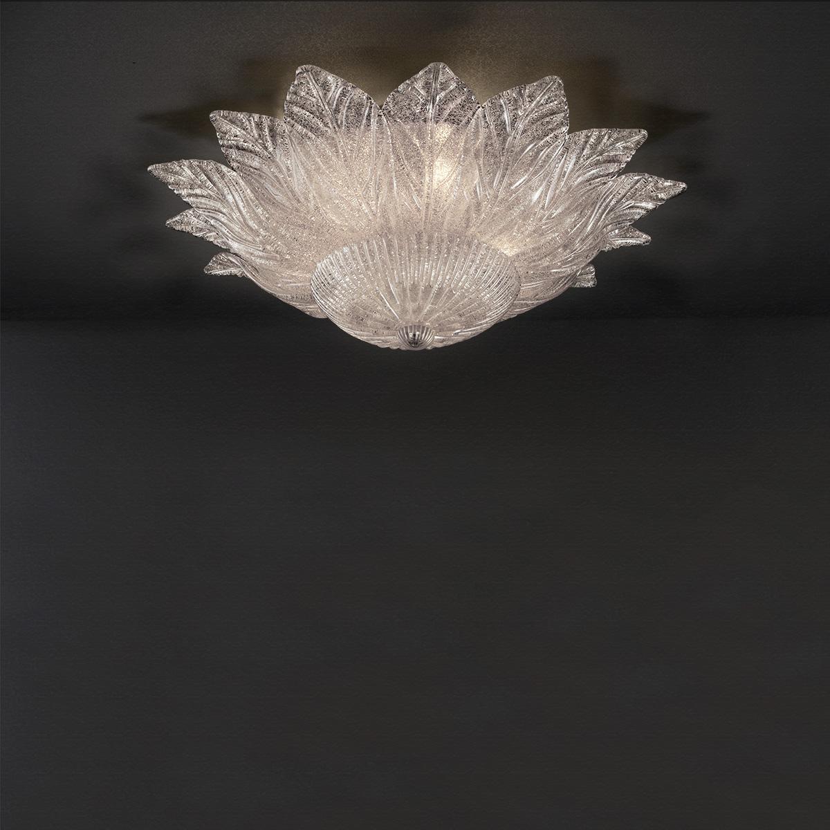Φωτιστικό οροφής με φύλλα Μουράνο STELLA ceiling lamp with crystal leaves