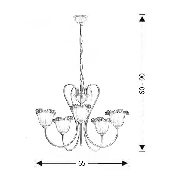 5-bulb chandelier with amber Murano crystals | NAXOS-1 - Drawing - 5-bulb chandelier with amber Murano crystals | NAXOS-1