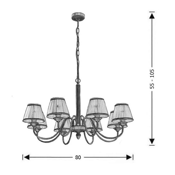 Classic brass 8-bulb chandelier with shades | OLYMPUS - Drawing - Classic brass 8-bulb chandelier with shades | OLYMPUS