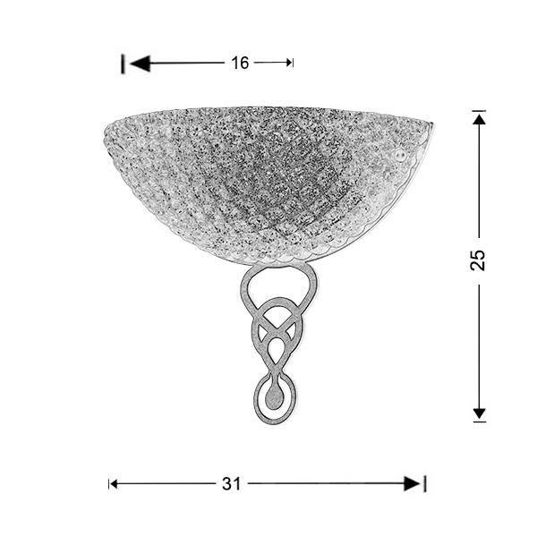 Murano wall lamp | CORONA - Drawing - Murano wall lamp | CORONA