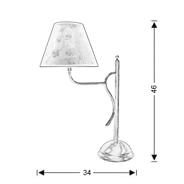 Classic table lamp with shade   ELATI - Drawing - Classic table lamp with shade   ELATI