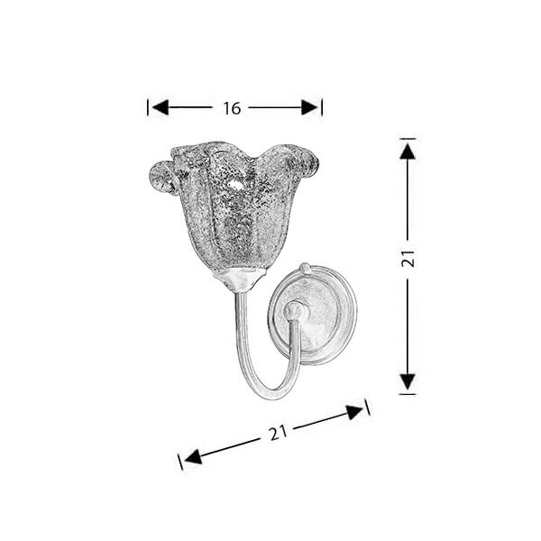 Κλασική απλίκα με μελί κρύσταλλο Μουράνο | ΝΑΞΟΣ-1 - Σχέδιο - Κλασική απλίκα με μελί κρύσταλλο Μουράνο | ΝΑΞΟΣ-1