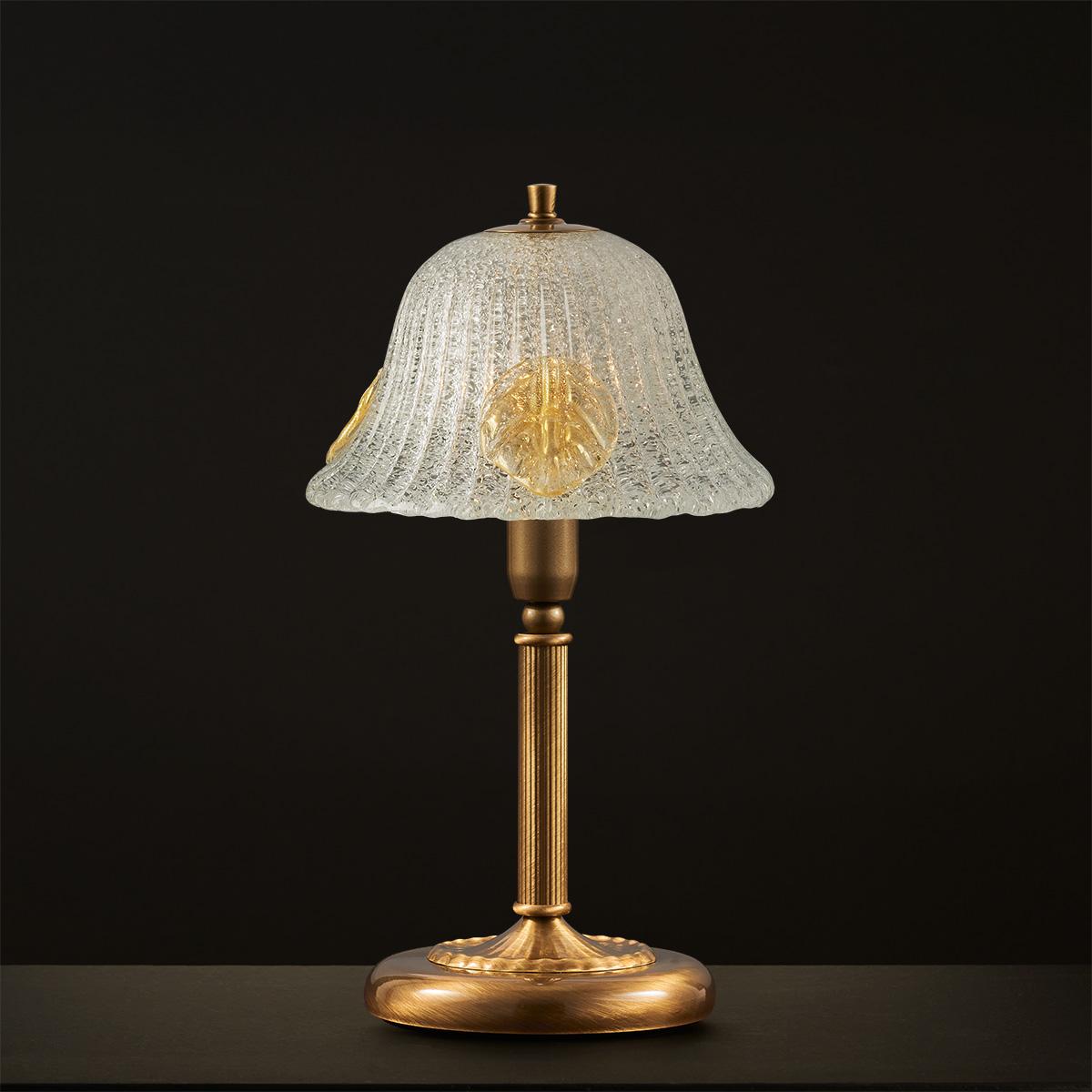Μπρούτζινο οξειδωμένο πορτατίφ ΦΥΛΛΟ brass oxidized table lamp