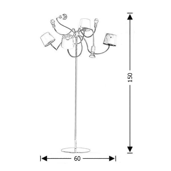 Μοντέρνο 8φωτο δαπέδου με καπέλα | FLEX - Σχέδιο - Μοντέρνο 8φωτο δαπέδου με καπέλα | FLEX