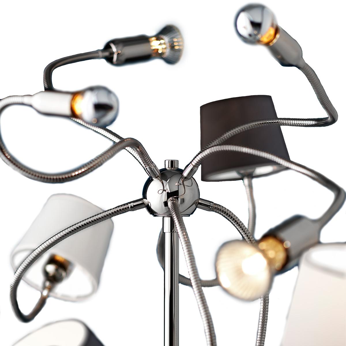 Μοντέρνο 8φωτο δαπέδου με καπέλα FLEX modern 8-bulb floor lamp with shades
