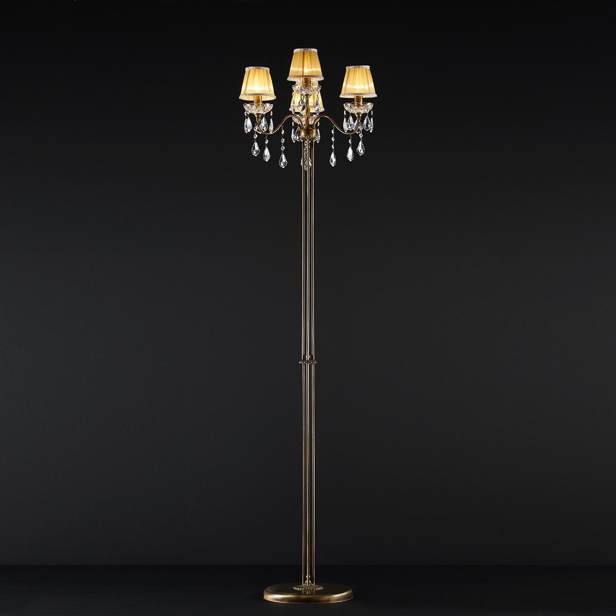 Κλασικό 4φωτο φωτιστικό δαπέδου με κρύσταλλα ΔΙΟΝ classic 4-bulb floor lamp with crystal accents