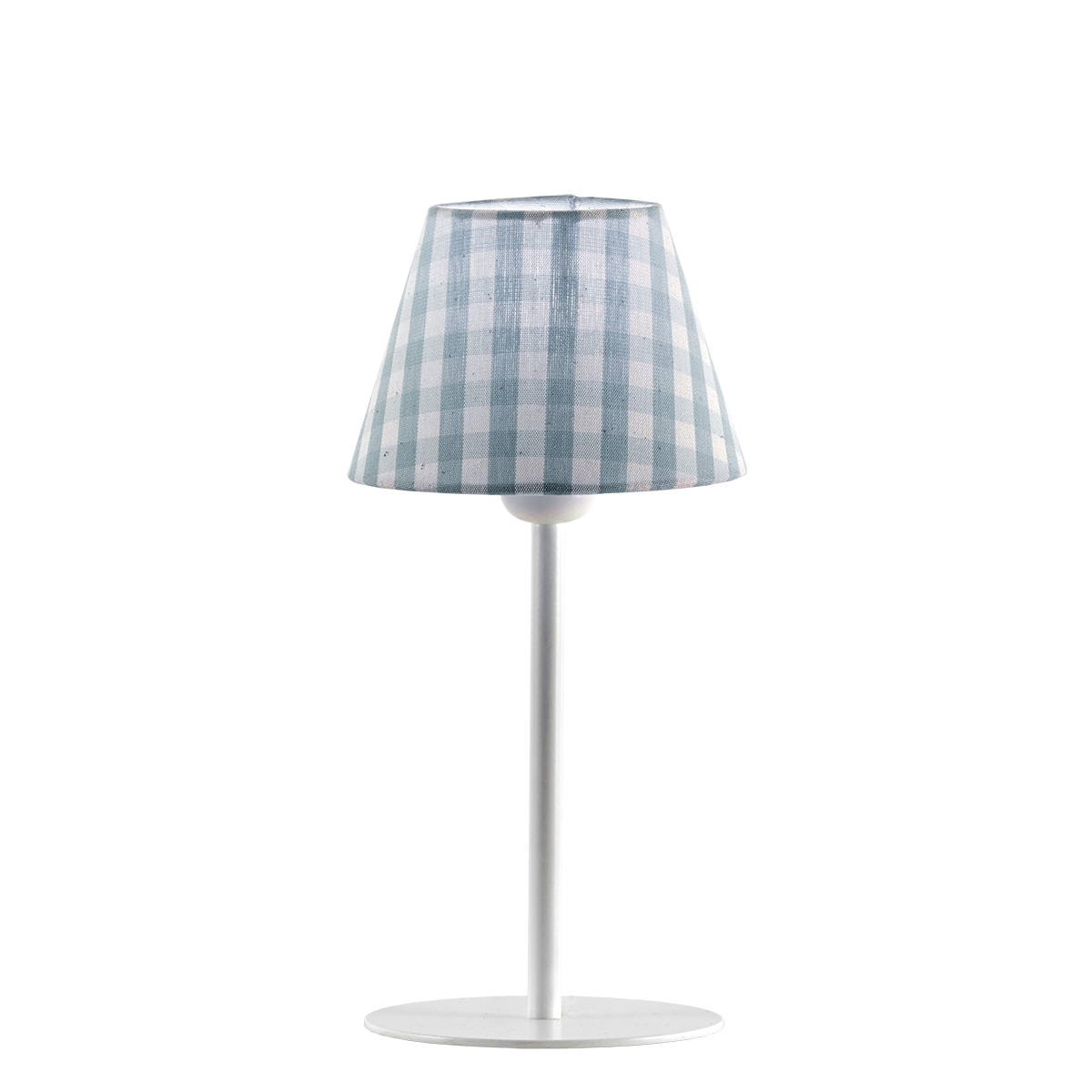 Πορτατίφ με σιελ καρό καπέλο CAROUSEL table lamp with light blue plaided shade