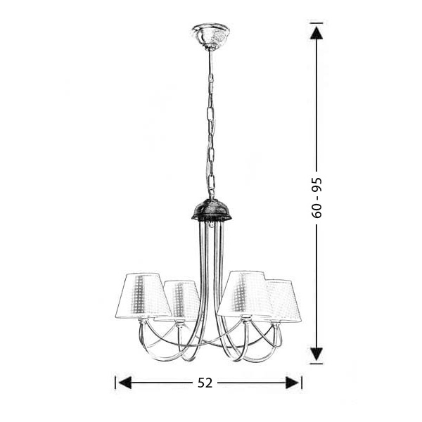 Classic 4-bulb chandelier with brown plaided shade | GYTHIO - Drawing - Classic 4-bulb chandelier with brown plaided shade | GYTHIO