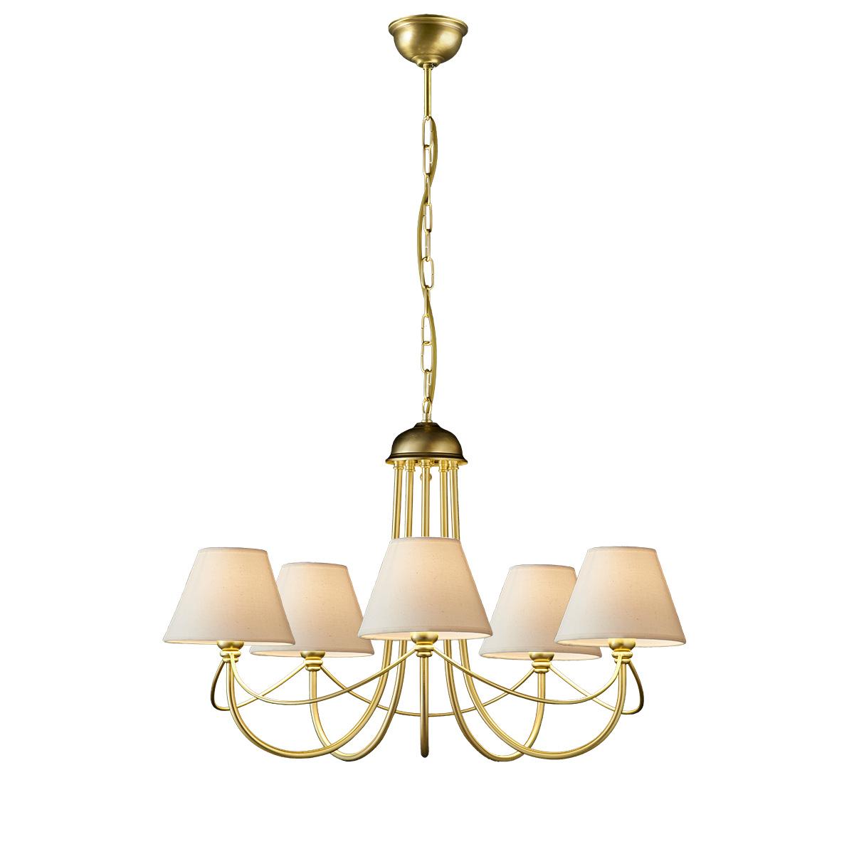 Κλασικό 5φωτο φωτιστικό με καπέλα σε ματ ορείχαλκο ΓΥΘΕΙΟ classic brushed brass 5-bulb chandelier with shades