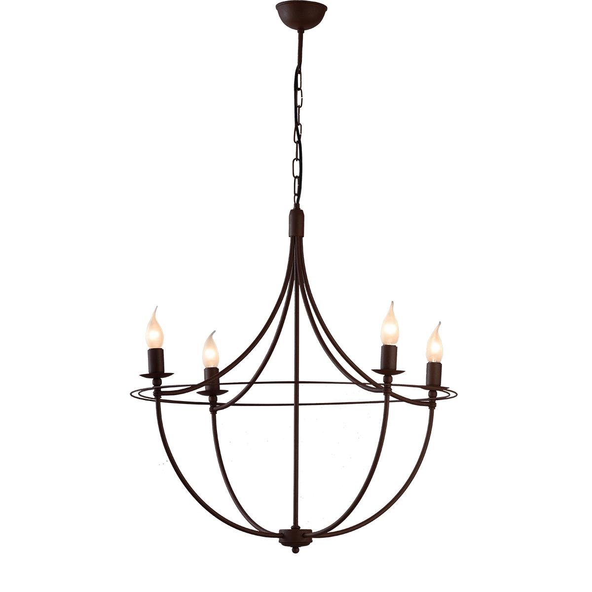Κρεμαστό φωτιστικό σε καφέ πατίνα VILLAGE brown patinated rustic chandelier