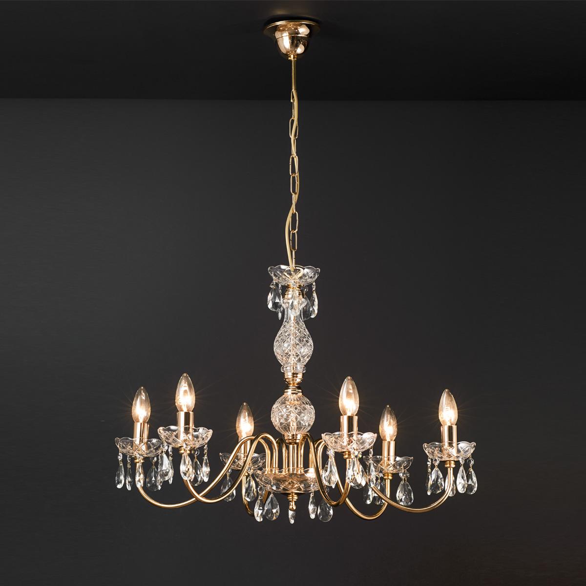 Κλασικό 6φωτο φωτιστικό με κρύσταλλα ΒΕΡΓΙΝΑ classic 6-bulb chandelier with crystals