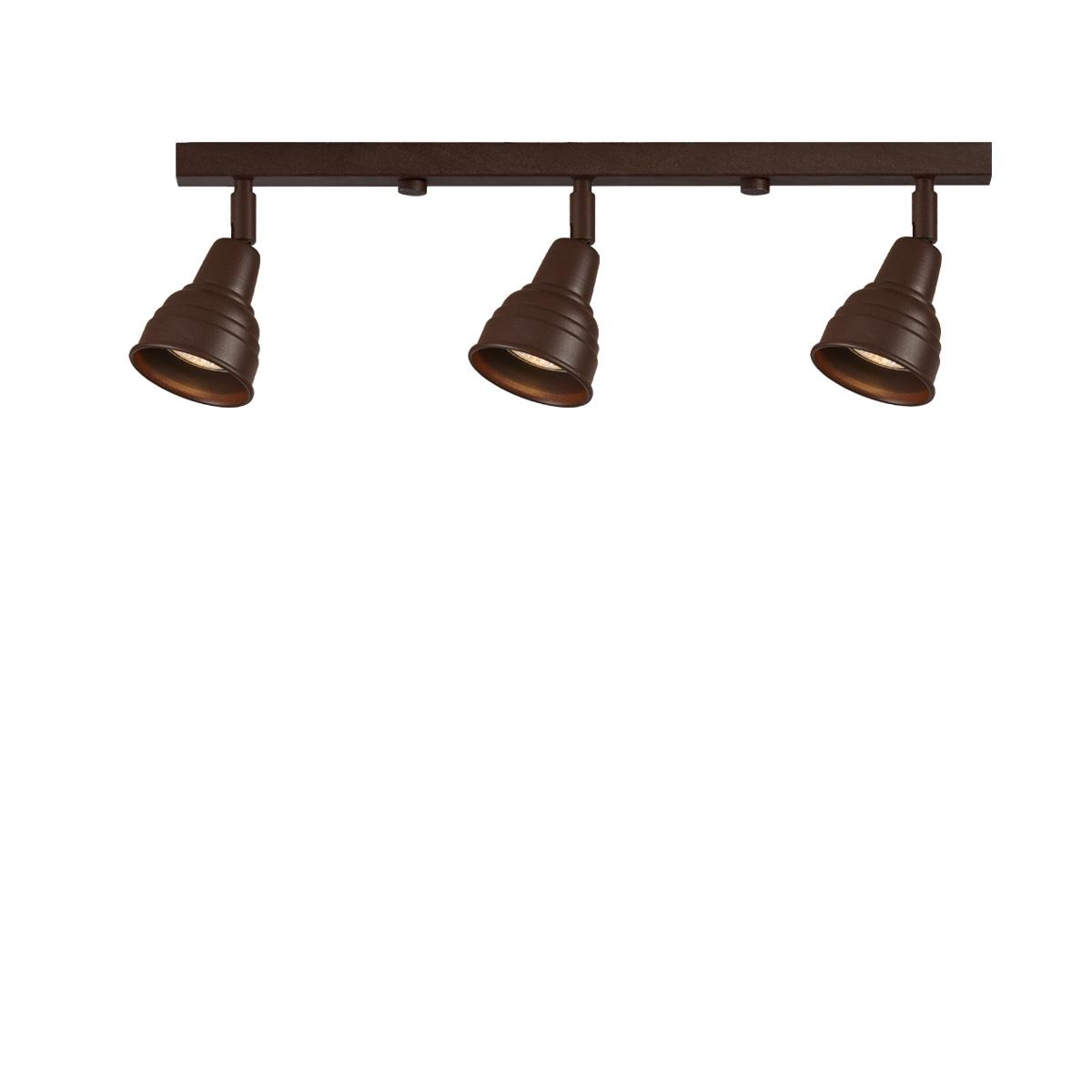 Ρουστίκ 3φωτη ράγα σε καφέ πατίνα ΙΟΣ brown patinated rustic spotlighting