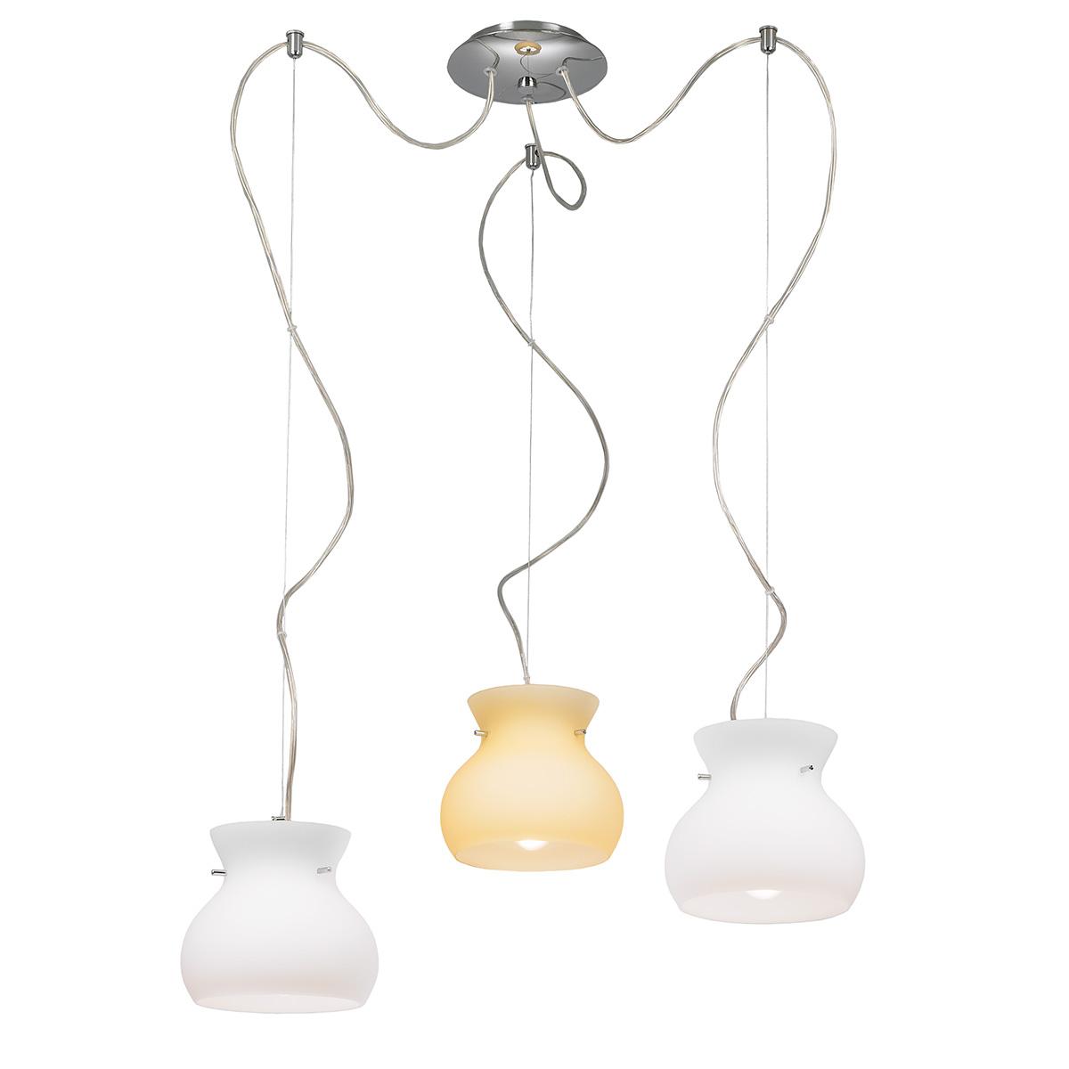 3φωτο φωτιστικό Μουράνο GLOBO 3-bulb Murano suspension lamp