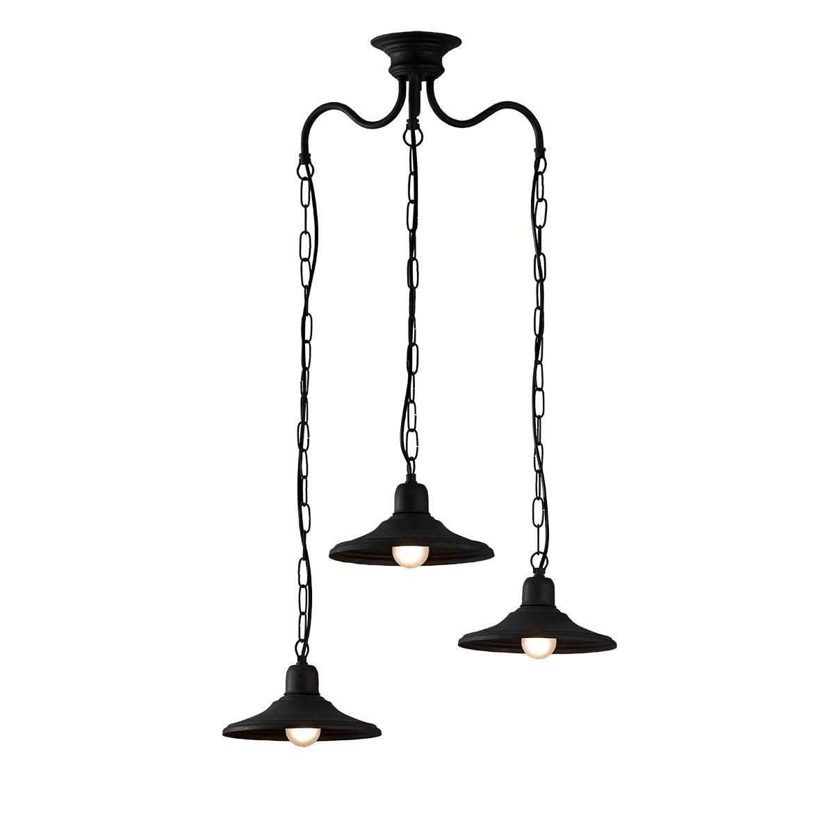 Παραδοσιακό 3φωτο φωτιστικό σε πατίνα γραφίτη ΙΟΣ graphite patinated rustic chandelier