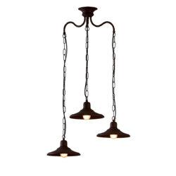 Παραδοσιακό 3φωτο φωτιστικό σε καφέ πατίνα ΙΟΣ brown patinated rustic chandelier