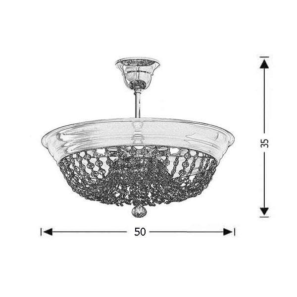 Ceiling lamp with crystal accents | ARTEMIS - Drawing - Ceiling lamp with crystal accents | ARTEMIS
