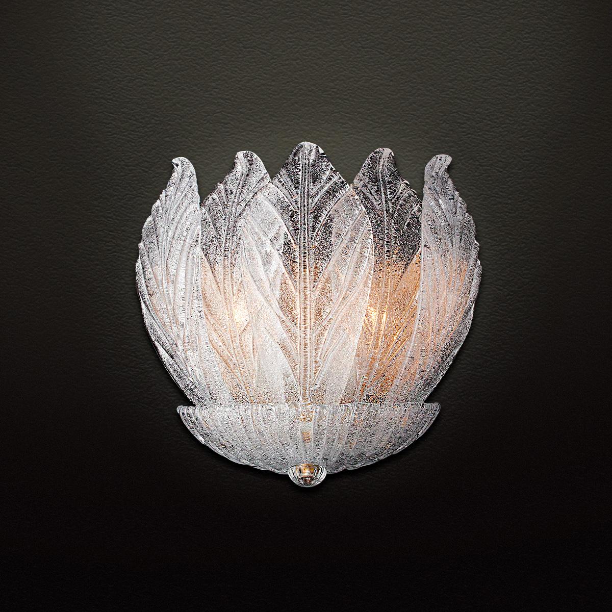 Κλασική απλίκα με κρυστάλλινα φύλλα Μουράνο ΗΛΙΟΣ classic wall lamp with Murano crystal leaves