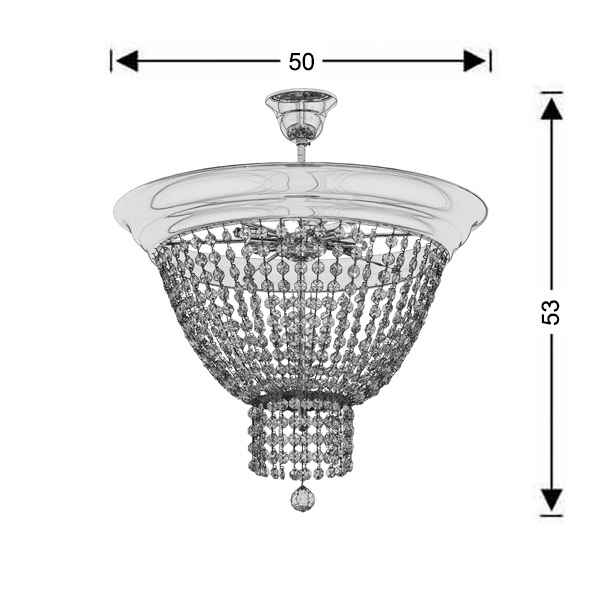 Ceiling lamp with crystal accents | PHAEDRA - Drawing - Ceiling lamp with crystal accents | PHAEDRA