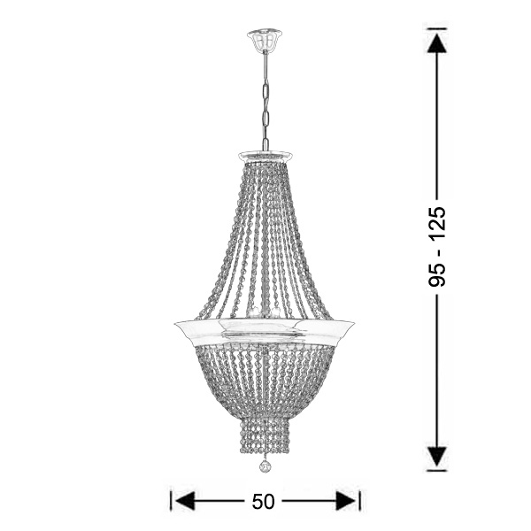 Classic suspension lamp with crystal accents | PHAEDRA - Drawing - Classic suspension lamp with crystal accents | PHAEDRA