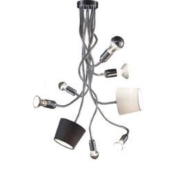 Εύκαμπτο 8φωτο φωτιστικό με καπέλα FLEX 8-bulb flexible lamp with shades