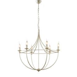 Παραδοσιακό 6φωτο φωτιστικό σε λευκή πατίνα VILLAGE white patinated rustic 6-bulb chandelier