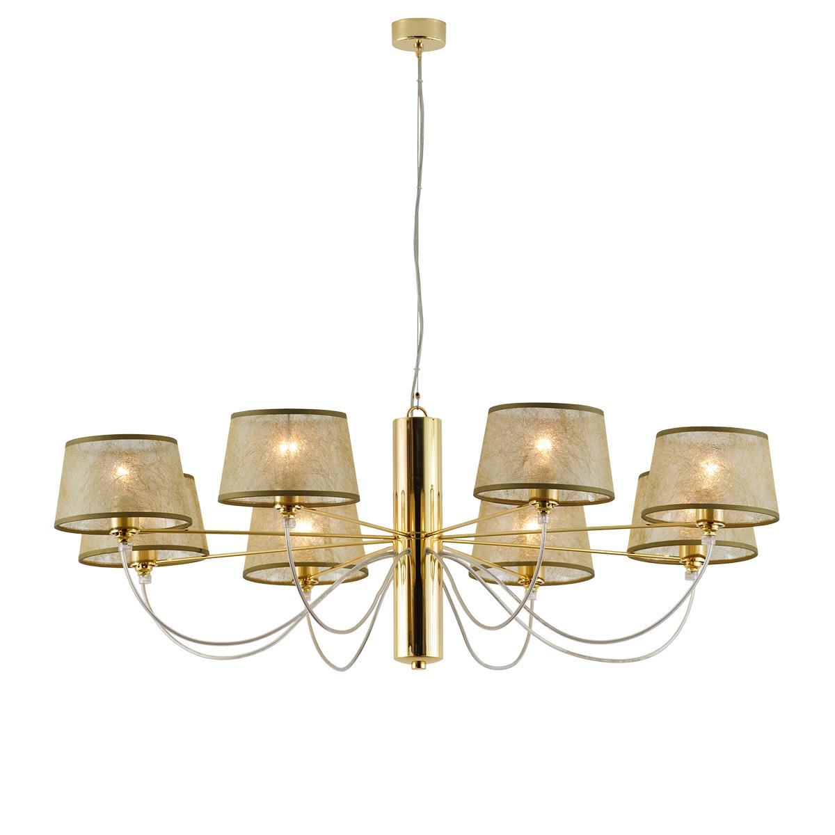 Χρυσό μοντέρνο 8φωτο φωτιστικό ΟΡΓΑΝΤΖΑ modern gold 8-bulb chandelier