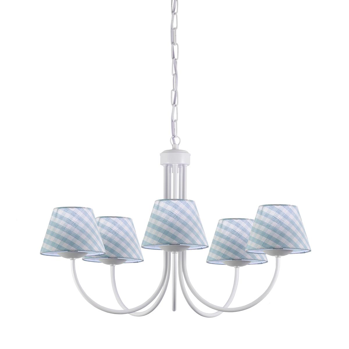 Πολύφωτο με σιέλ καρό καπέλα BIANCO chandelier