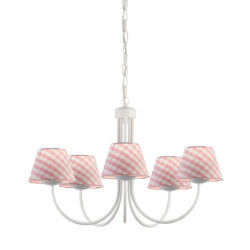 Kids chandelier with pink plaided shades bianco 1 mavros specifications aloadofball Images