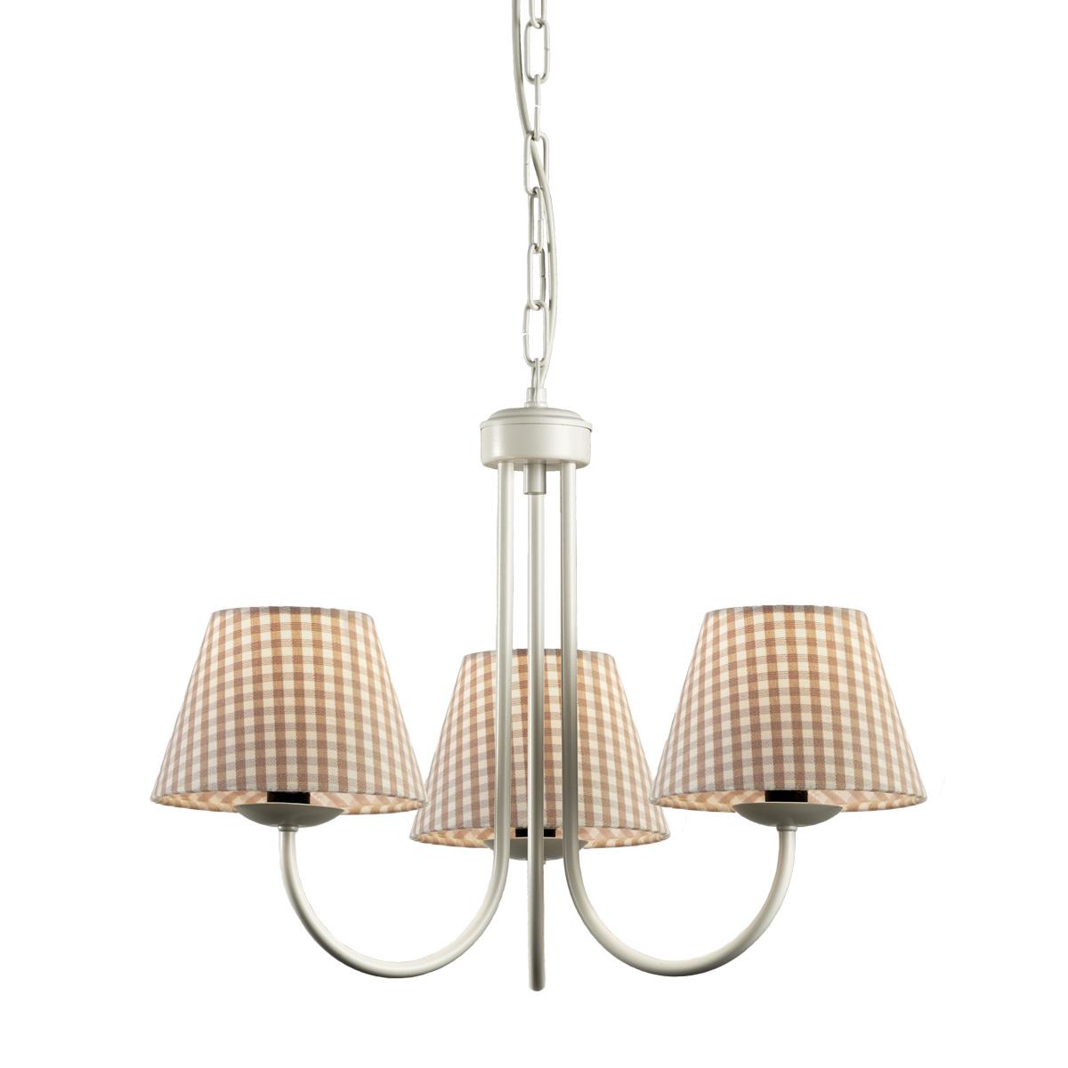 Ρουστίκ πολύφωτο με καφέ καρό καπέλα BIANCO-2 chandelier with brown plaided shades