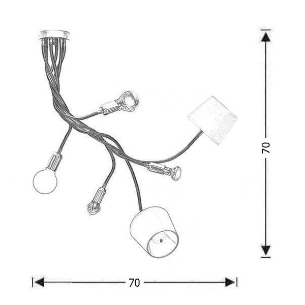 6-bulb flexible chandelier | FLEX - Drawing - 6-bulb flexible chandelier | FLEX