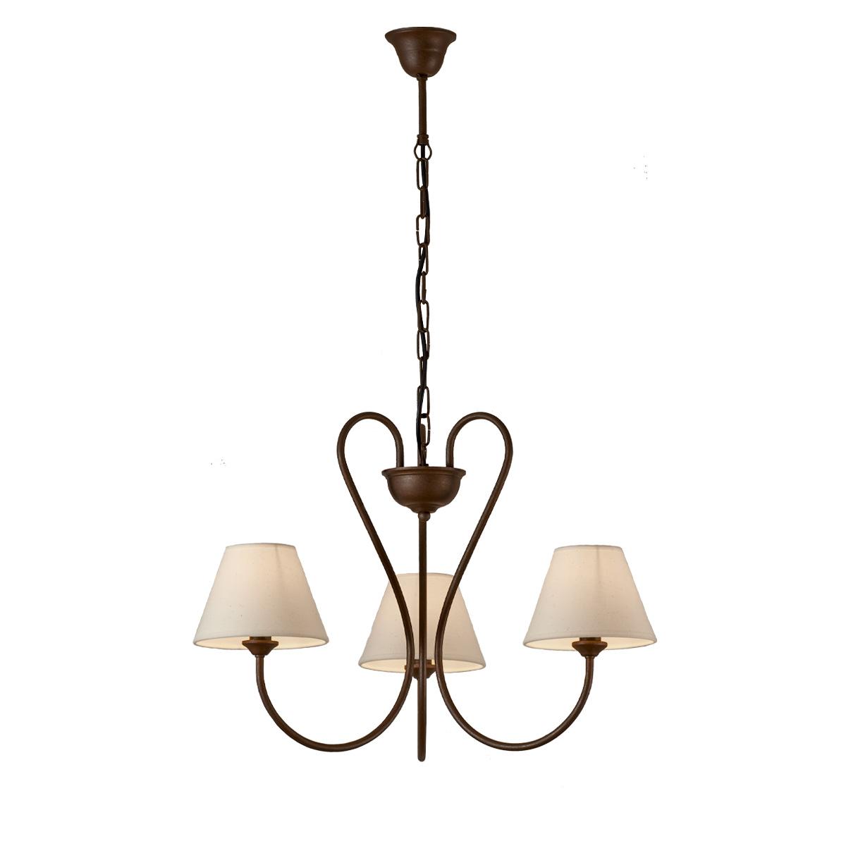 3φωτο ρουστίκ κρεμαστό φωτιστικό σε καφέ πατίνα ΝΑΞΟΣ-2 3-bulb brown patinated rustic pendant lamp