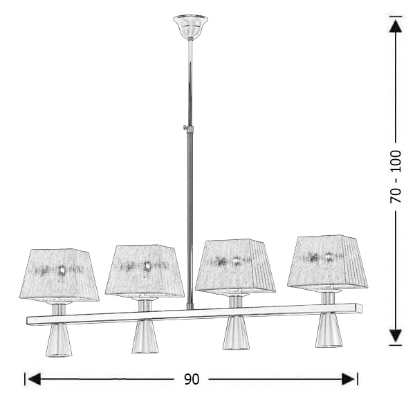 Modern 8-bulb chandelier with white shades | SMART-SILVER - Drawing - Modern 8-bulb chandelier with white shades | SMART-SILVER