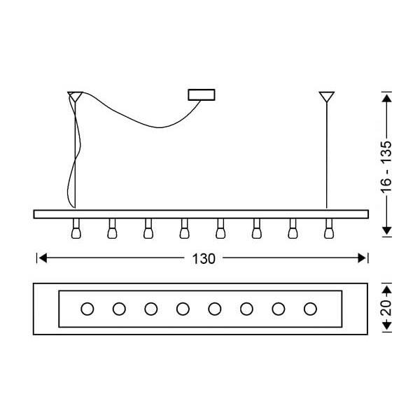 Μοντέρνο 8φωτο κρεμαστό φωτιστικό | VETRO - Σχέδιο - Μοντέρνο 8φωτο κρεμαστό φωτιστικό | VETRO