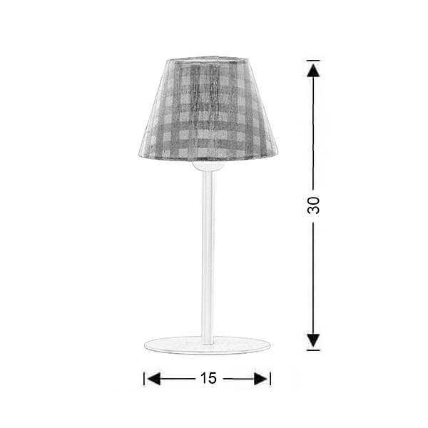 Table lamp with light blue plaided shade | CAROUSEL - Drawing - Table lamp with light blue plaided shade | CAROUSEL