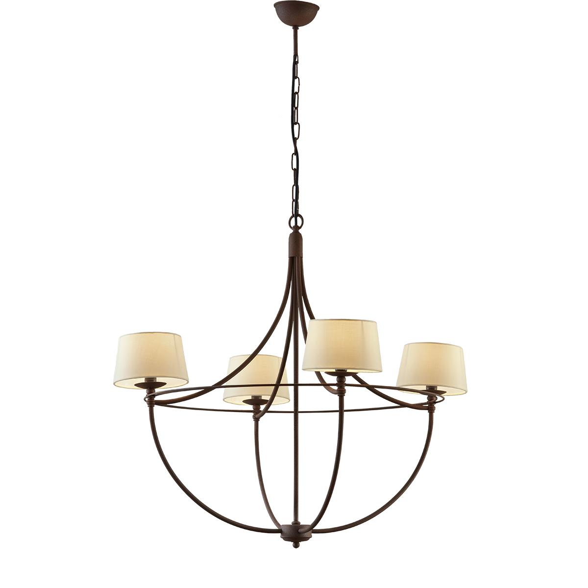Κρεμαστό φωτιστικό με καπέλα σε καφέ πατίνα VILLAGE brown patinated rustic chandelier with lamp shades