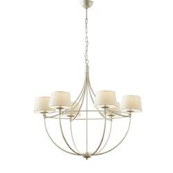 6φωτο φωτιστικό με καπέλα σε λευκή πατίνα VILLAGE white patinated 6-bulb chandelier with shades
