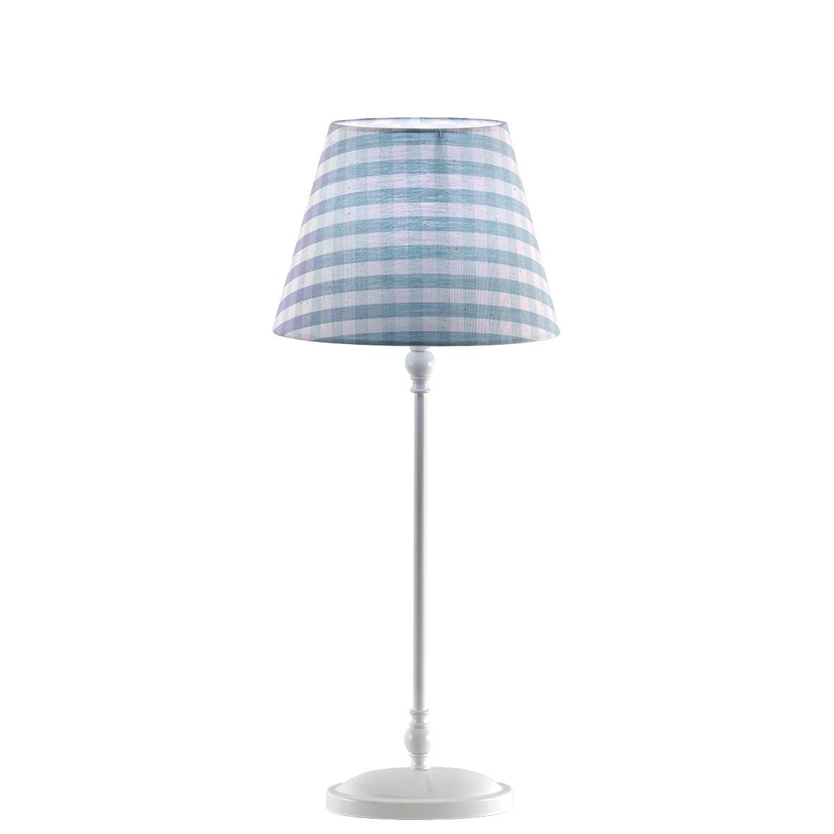 Επιτραπέζιο φωτιστικό με σιέλ καρό καπέλο BIANCO table lamp