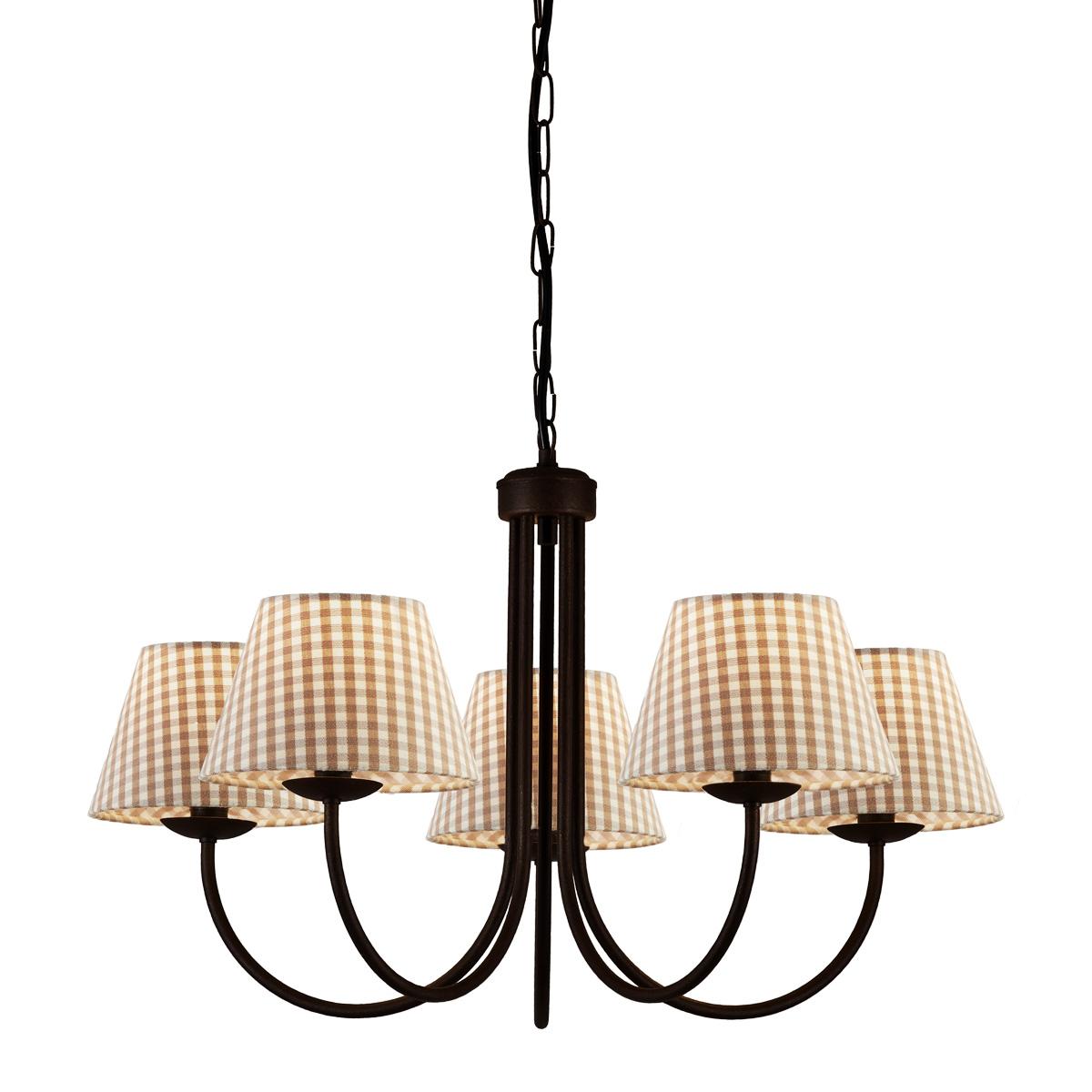 Φωτιστικό πατίνα γραφίτη με καφέ καρό καπέλα BIANCO-2 graphite patinated chandelier with brown plaided shades