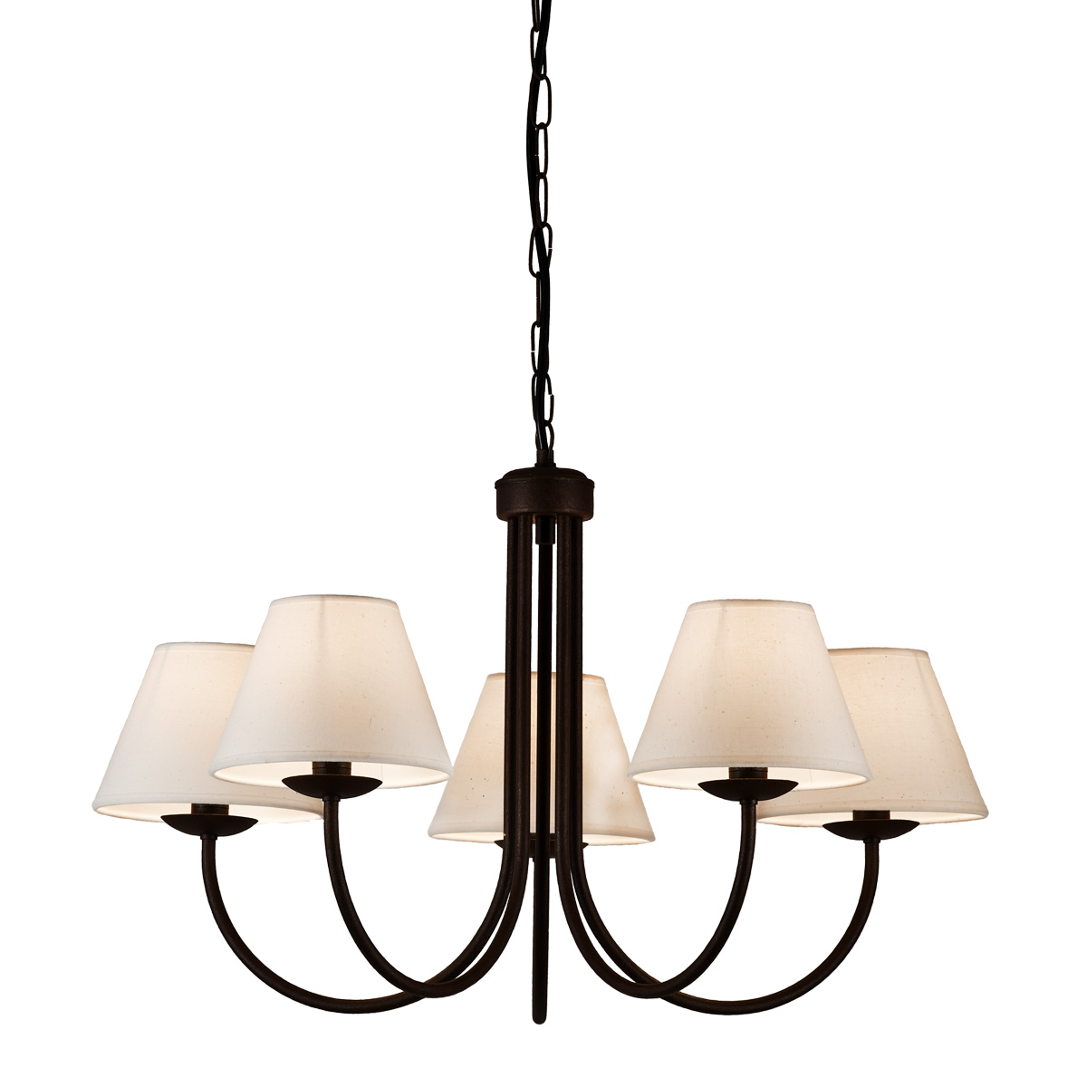 Φωτιστικό πατίνα γραφίτη με εκρού καπέλα BIANCO-2 graphite patinated chandelier with ecru shades