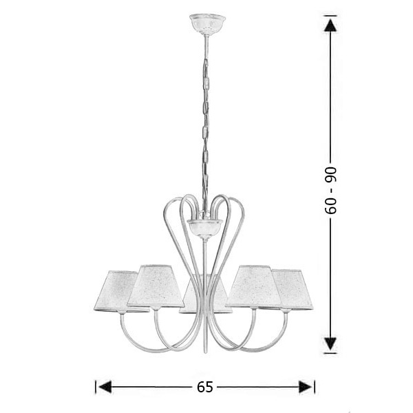 5-bulb chandelier with lamp shades   NAXOS-1 - Drawing - 5-bulb chandelier with lamp shades   NAXOS-1