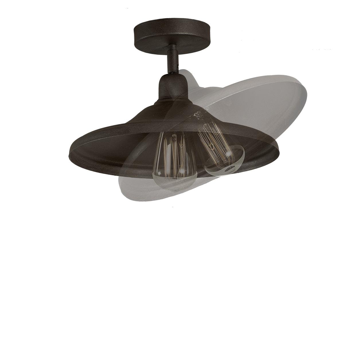 Ρουστίκ φωτιστικό οροφής σε πατίνα γραφίτη ΙΟΣ graphite patinated rustic ceiling lamp