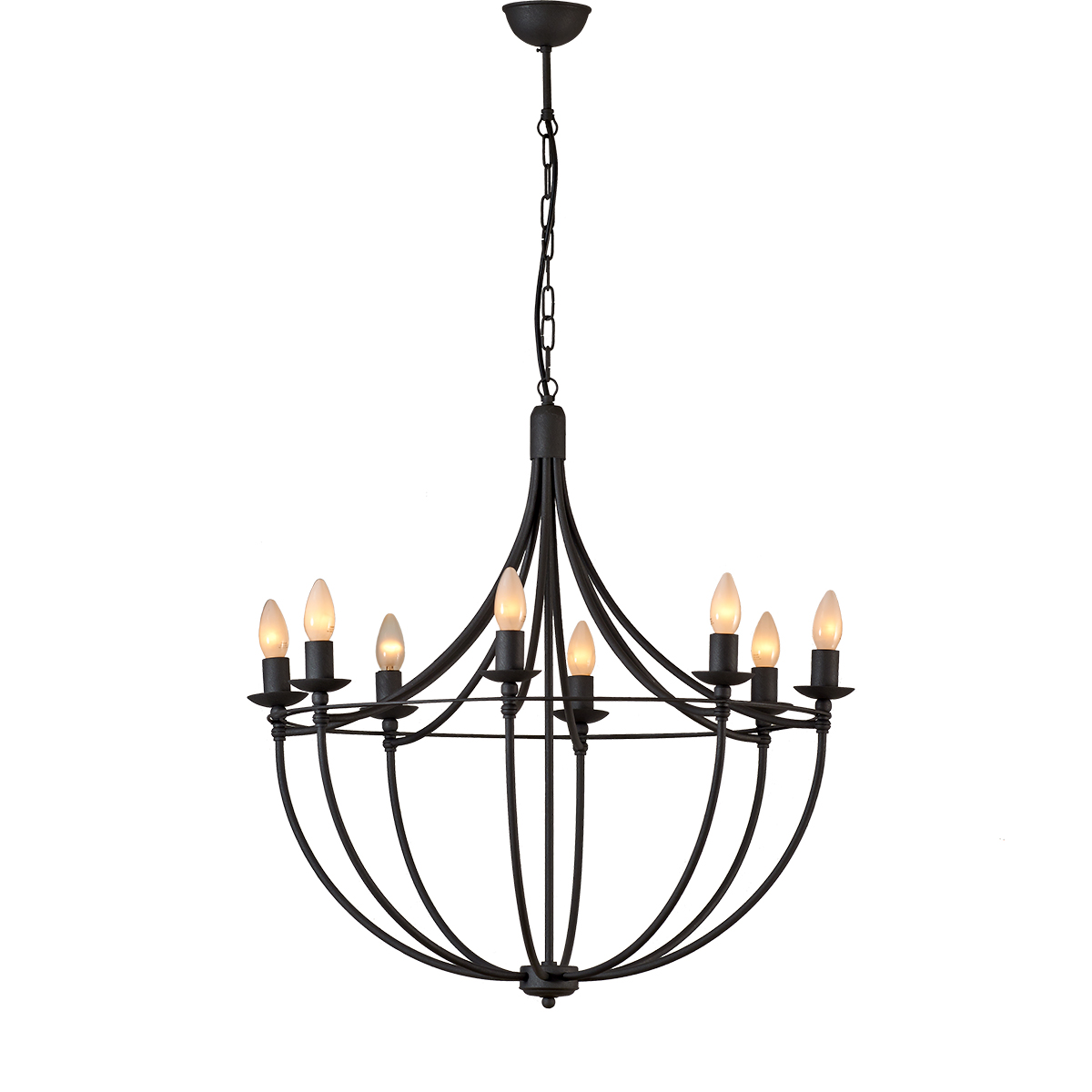 Παραδοσιακό 8φωτο φωτιστικό σε πατίνα γραφίτη VILLAGE graphite patinated rustic 8-bulb chandelier